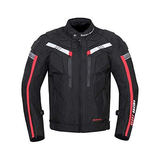 BEDSETS Veste De Moto, blouson moto homme sport avec armure pour l'automne Hiver, étanche à La Pluie, Disponible En Toutes Saisons (Black,5XL)