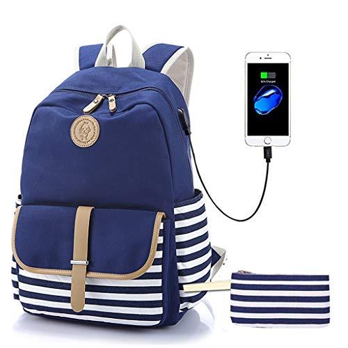 Watopi - Juego de 2 mochilas de deporte con estuche para bolígrafos, diseño de rayas, color azul marino, azul (Azul) - Watopi0818