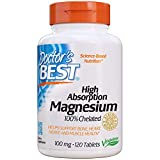 Doctor's Best High Absorption Magnesium Glycinate Lysinate, 100% Chelated, TRACCS, Not Buffered, Headaches, Sleep, Energy, Leg Cramps, Non-GMO, Vegan, Gluten Free, Soy Free, 100 mg, 120 Tablets