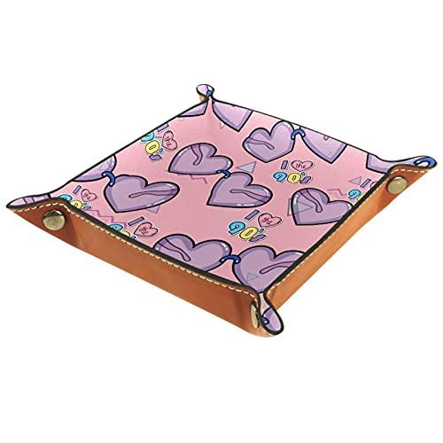 Amor púrpura corazón triángulos fondo rosa joyería bandeja cuero para joyería clave cosméticos gafas auriculares monedero-oficina/uso doméstico