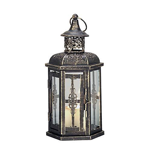 JHY DESIGN Linternas Decorativas 25 cm de Alto Estilo Vintage Linterna Colgante faroles de decoracion candelabro de Metal para Interiores al Aire Libre Eventos paridades(Negro con Cepillo de Oro) ✅