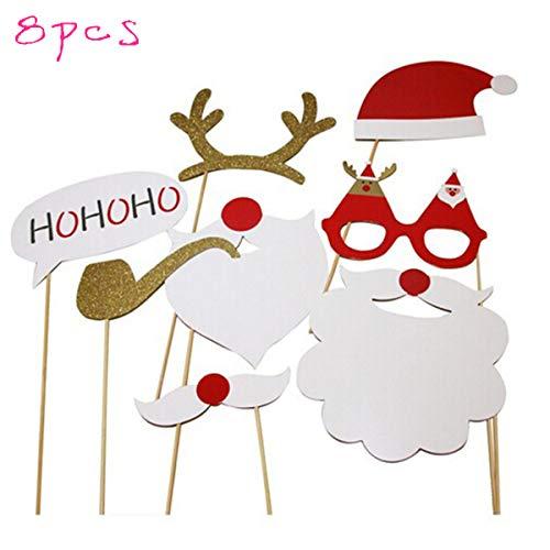 Toyvian Fotorequisiten Lustige Weihnachten Fotoaccessoires Weihnachtsmütze Nikolaus Bart Fotobooth Zubehör Dekoration 8 Stück