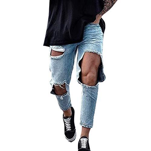 ITISME Slim Fit Herren Destroyed, 2019 Herbst Winter Straight Casual Destroyed Vintage Jeanshosen Herrenmode Schlanke Löcher Gefaltete Tasche Jeans Hosen Lange Hosen Freizeithosen Streetwear Sale