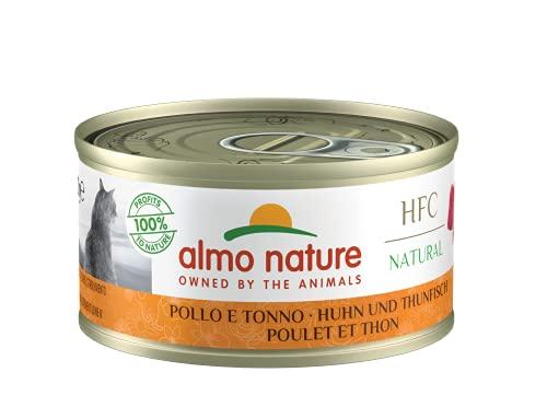 almo nature Hfc Natural - Cibo Umido Complementare per Gatti Adulti con 100% Pollo E Tonno Freschi di qualità Hfc. 24 Lattine da 70G. - 2457 g