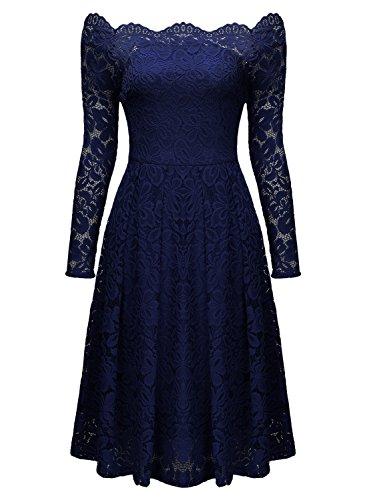 Miusol Damen Vintage 1950er Off Schulter Cocktailkleid Retro Spitzen Schwingen Pinup Rockabilly Kleid Dunkelblau - 6