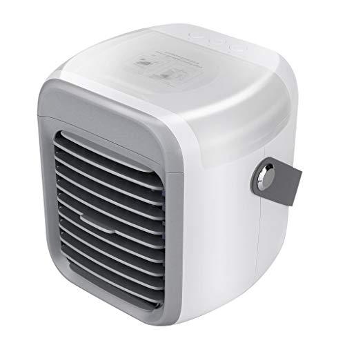Zarupeng Mini climatizzatore 4 in 1, silenzioso ventilatore personale, 3 livelli, luce notturna a LED, umidificatore per casa, ufficio, campeggio, viaggi, festa del papà