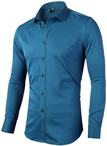 INFlATION Herren Hemd aus Bambusfaser umweltfreudlich Elastisch Slim Fit für Freizeit Business Hochzeit Reine Farbe Hemd Langarm,DE S (Etikette 40),Blau