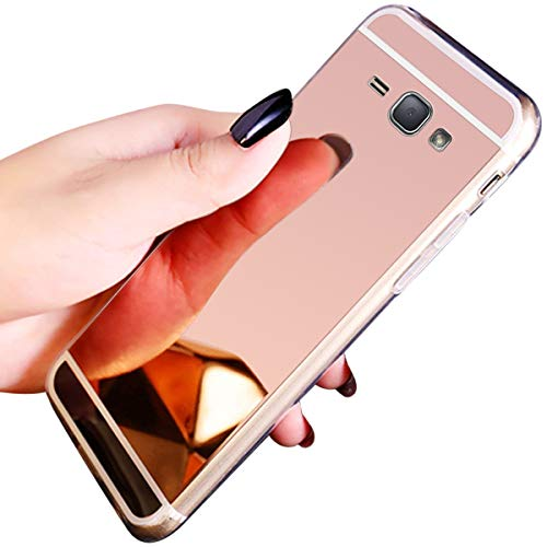 JAWSEU Compatible avec Samsung Galaxy J1 2016 Coque Miroir Silicone,Cristal Brillant Bling Glitter Miroir Housse de Protection Slim Souple Gel Paillettes Strass Case Femme Fille,Or Rose