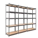 3 estanterías de acero resistentes de 175 kg por estante (5 niveles de 1800 mm de alto x 900 mm de ancho x 600 mm de profundidad)