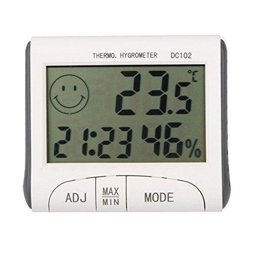 Preisvergleich Produktbild Thermometer - TOOGOO(R) LCD-Digital-Thermometer Hygrometer Feuchtigkeit Temperatur-Messgeraet Uhr / magnetische Weiss