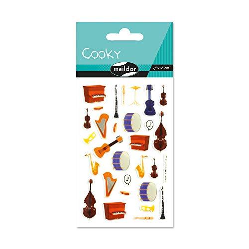 Maildor CY079C Packung mit Stickers Cooky 3D (1 Bogen, 7,5 x 12 cm, ideal zum Dekorieren, Sammeln oder Verschenken, Musikinstrumente) 1 Pack