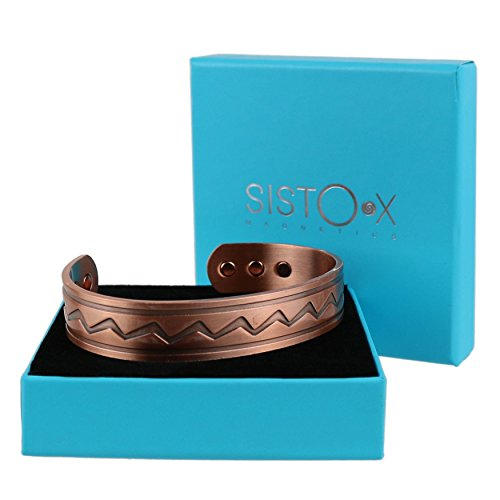 Chunky Koper Manchet Zig Zag Ontwerp Magnetische Armband/Bangle door SISTO-X® 6 Magneten Gezondheid Neodymium XL (190-225mm)