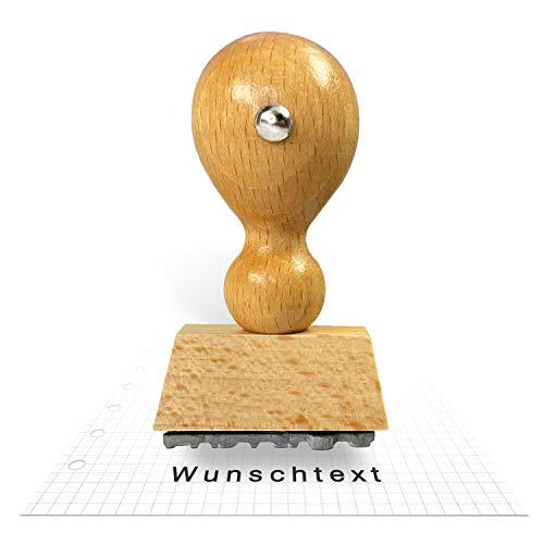 Betriebsausstattung24® Traditioneller Holzstempel inkl. Textplatte   Stempel aus Naturholz   Buchenholz   33 x 6 mm (Wunschtext, 33 x 6 mm)