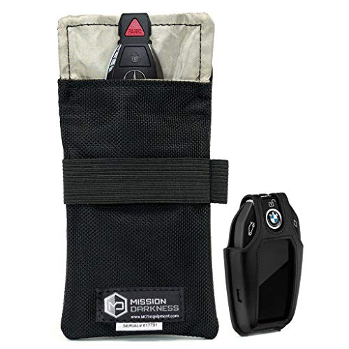 "Mission Darkness Faraday Bag for Keyfobs // Device Shielding for Smart""Always On"" Keyfobs for Automobile Owners, Law Enforcement, Military, Executive Privacy, Travel Security, Anti-hacking Assurance"
