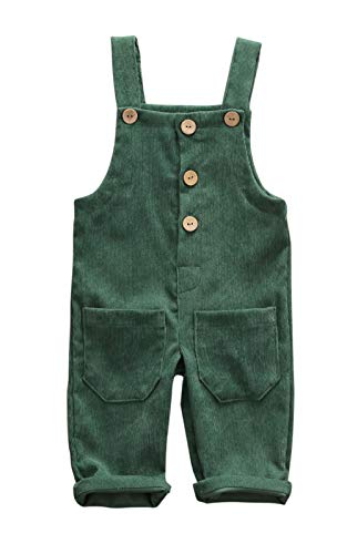 Kuriozud Toddler Baby Girl Boy Corduroy Overall Solid Bib Pants Suspender Trousers with 2 Pocket Bottom Clothes (Green, 1-2 T)