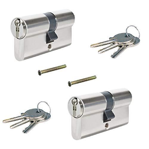 2 tlg. 60mm 30/30 Zylinderschloss, Gleichschliessend, Einbauschloss, Übungsschloss, Schließzylinder mit 6 Schlüssel Set