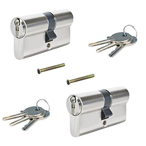 2 tlg. 60mm 30/30 Zylinderschloss, Gleichschliessend, Einbauschloss, Schließzylinder mit 6 Schlüssel Set