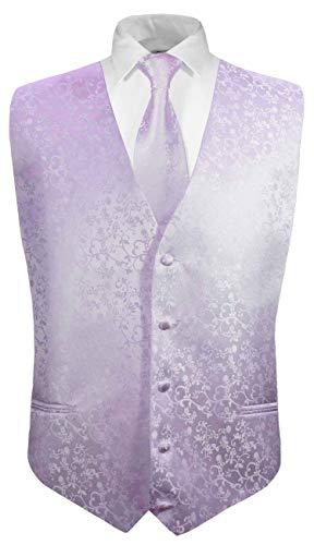 Festliche Jungen Anzug Weste mit Krawatte 2tlg lila Flieder floral für Kinderanzug 128-134 (8 Jahre)
