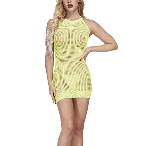 SUCES Unterwäsche Damen Mesh Kleid Transparent Lingerie Frauen Hohl Perspektive Reizwäsche Sexy Spitze Dessous Bequem Mode Overall(Gelb,one size)