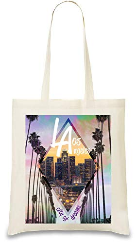 Los Angeles Stadt der Träume Kalifornien - Los Angeles City Of Dreams California Custom Printed Tote Bag| 100% Soft Cotton| Natural Color & Eco-Friendly| Unique, Re-Usable & Stylish Handbag For Every