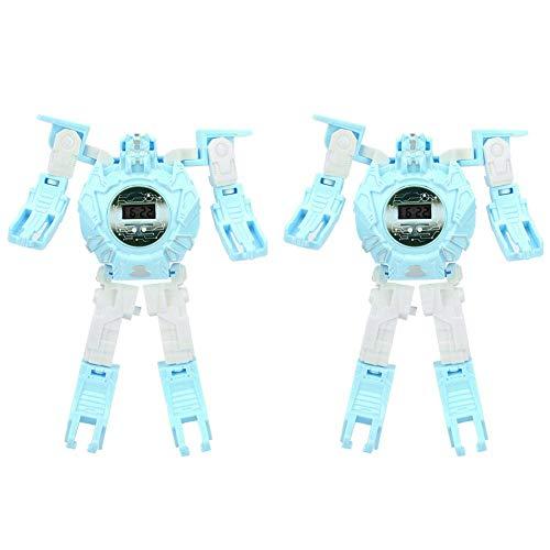 Reloj de Pulsera electrónico para niños deformado por Robot, Reloj de Pulsera Digital de transformación Regalo de Juguete para niños niños niñas(Azul)