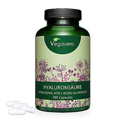 Hyaluronic Acid Capsules Vegavero® | Highly Dosed- 595mg of Pure Hyaluronic Acid | 180 Capsules | NO Additives | 100% Vegan | 800-1500 kDa | Skin & Joints
