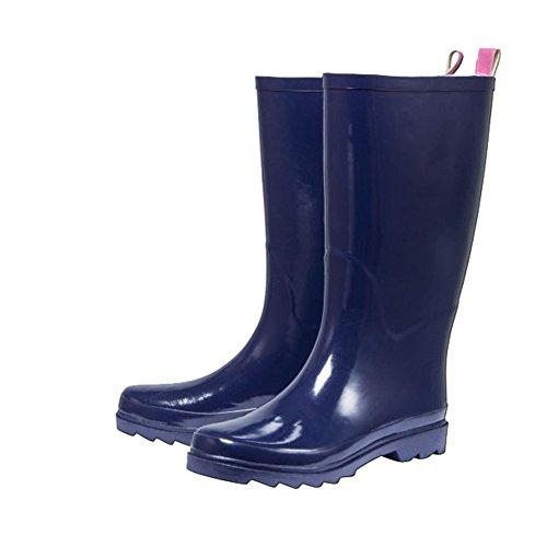 WALKX Damen Regenstiefel Gummistiefel Stiefel Damenstiefel Navy - Pink (40)