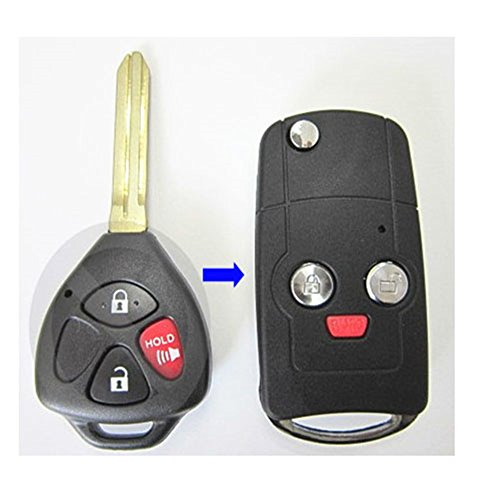 Price comparison product image New Flip Folding Remote Key Replacement Shell Keyless Fob Case Button Uncut Blade Blank 3 Buttons fit for 2010 2011 2012 2013 2014 Scion tC