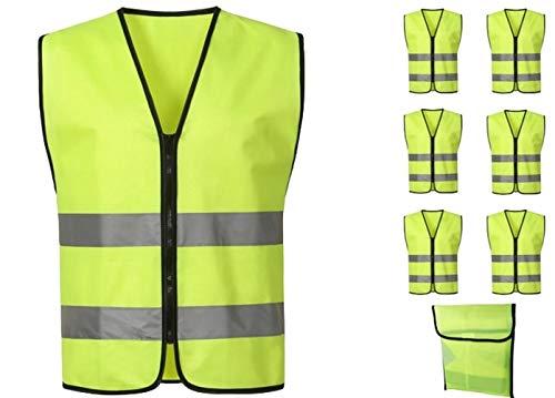 O&K GRUPPE 6 Stück Warnweste Neon Gelb,knitterfrei, waschbar,360 Grad Reflektierende Sicherheitsweste für KFZ, Fahrrad Motorrad, und Arbeitern mit Hohem Risiko EN471