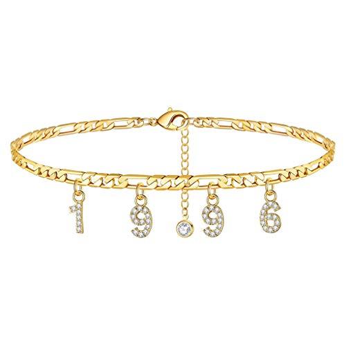 Geburtsjahr Frauen Fußkettchen gefüllt mit personalisierten Fußkettchen Beach Feet Jewelry - Custom Layered Year Armbänder mit Verstellbarer Gliederkette zum Weihnachtsgeburtstag (Gold, 1996 Jahr)