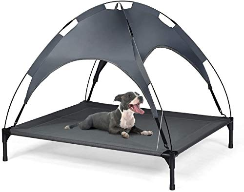 COSTWAY Raised Dog Bed, Elevated Pet Cot with Removable Canopy, Breathable Fabric & Steel Frame, Portable Cooling Dog Bed Tent for Camping Lawn Beach (XL)