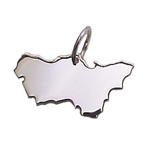 City Souvenir Shop Anhänger Landkarte Ruhrpott, 925er Sterling Silber