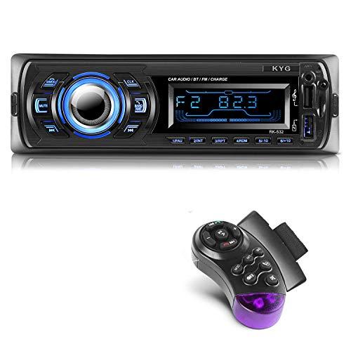 KYG Autoradio Bluetooth Main Libre Radio Voiture avec 2 Ports USB et MMC Card Slot, Supporte Max 32G de Mémoire Lecteur FM MP3 USB SD WMA AUX Télécommande, 7 Couleurs d éclairage