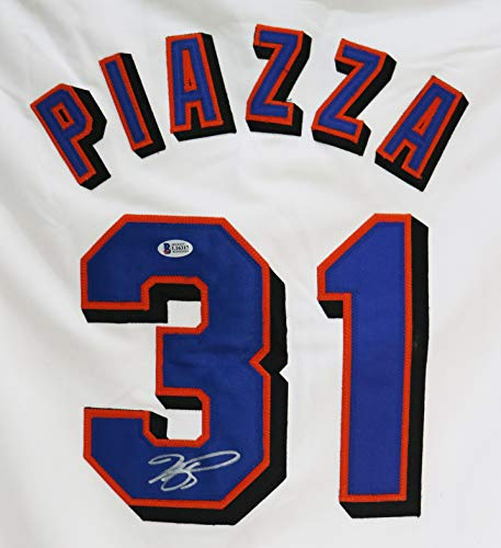 Mike Piazza New York Mets Signed Autographed White #31 Custom Jersey Beckett Witnessed COA