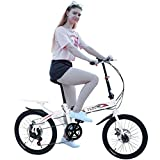 2021 New Folding Bike for Women, 20in Mini City Bike Lightweight with 7 Speeds Compact Suspension Foldable Bicycle Urban Commuter for Student Office Worker Urban