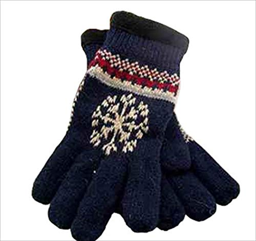 Sp (エスピー) 手袋 ノルディック柄 紳士ニット 五本指 ウール 厚手手袋 ネイビー