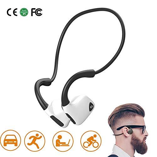 Bluetooth 5.0 bot koptelefoon, draadloze sport draadloze hoofdtelefoon waterdicht hoofdtelefoon met microfoon voor hardlopen, fietsen en rijden wit