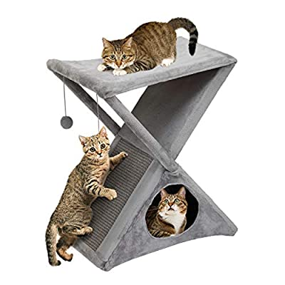 Sandinrayli Foldable Cat Tower Tree, Double-Deck Pet House for Small & Medium Cats with Scratcher, Gray ¡