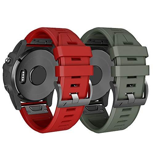 Cinturino per Garmin Fenix 6X/Fenix 6X Pro/Fenix 3/Fenix 3 HR/5X/Fenix 5X Plus/, 26mm Cinturino di Ricambio in Silicone, Braccialetto Quick-Fit, Colori multipli.