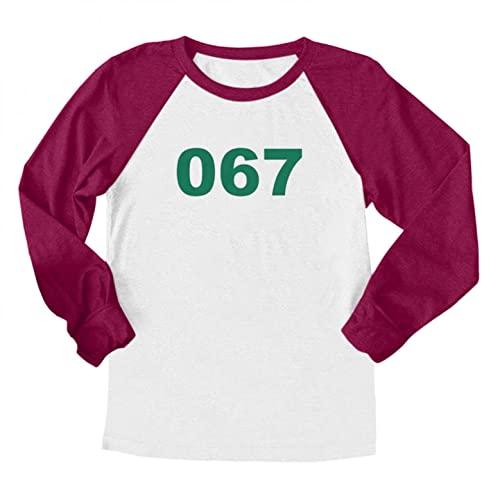 Camiseta de manga larga para disfraz de coreano TV Cosplay 001 101 067 218 456 T, camiseta de manga larga, vestido de verano, informal, moderno, blusas, para hombres y mujeres, E, XXL