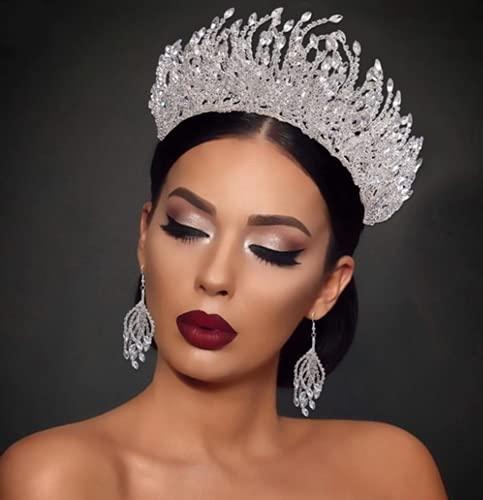 Phil Beauty Kit De Diadema De Diamantes De Imitación Tiara De Bodas De Plata Pendientes Corona San Valentín