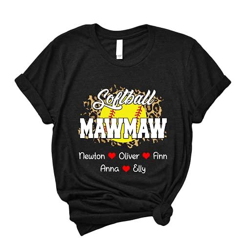 Leopard Softball Mawmaw with Grandkids Name T Shirt, Lover Softball T Shirt, Custom for Grandma, Mom, Nana, Mimi, Women, Personalized T Shirt, Softball Mawmaw Cute Tee
