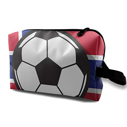 Multifuncition Travel Makeup Bags Football Icon with Norway Flag for Women