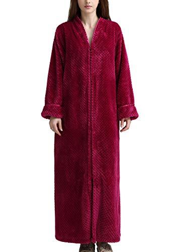 Flygo Bademantel für Damen, weich, kuschelig, flanell, Fleece, Reißverschluss -  Rot -  X-Small / Small