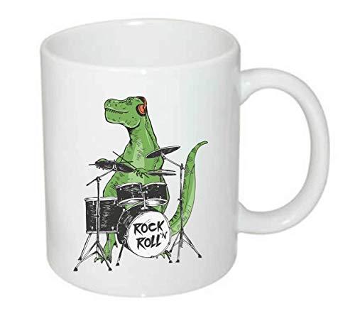 Druckerlebnis24 Tasse - Rock 'N' Roll Dinosaurier Schlagzeug Musik - Kaffee-Tasse 330ml - Unisize aus Keramik - Tee