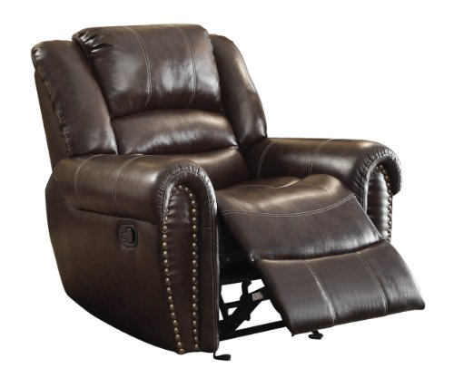 Homelegance Power Reclining Bonded Leather Traditional Chair with Accentuated Nail Headed Arm Rest, Black