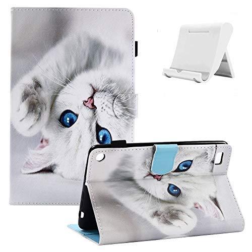 Shinyzone Kompatibel mit Amazon Fire HD 10 2017/2015 Tablet Hülle mit Stifthalter,PU Leder Tasche Gehäuse Ständer Schutzhülle [Auto Schlaf/Wachen][Verstellbar Handyhalterung],Weiße Katze
