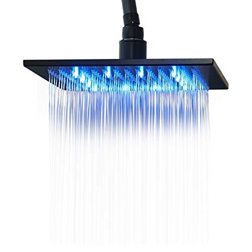 Rozin LED Light 10-inch Rainfall Shower Head Sqiare Overhead Spray Black Color