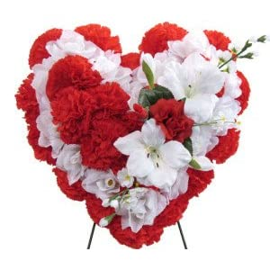 Silk Flower Arrangements Deluxe Silk Floral Heart in RED and White for Grave-site Presentation in Remembrance of Loved Ones. Easel Mounted