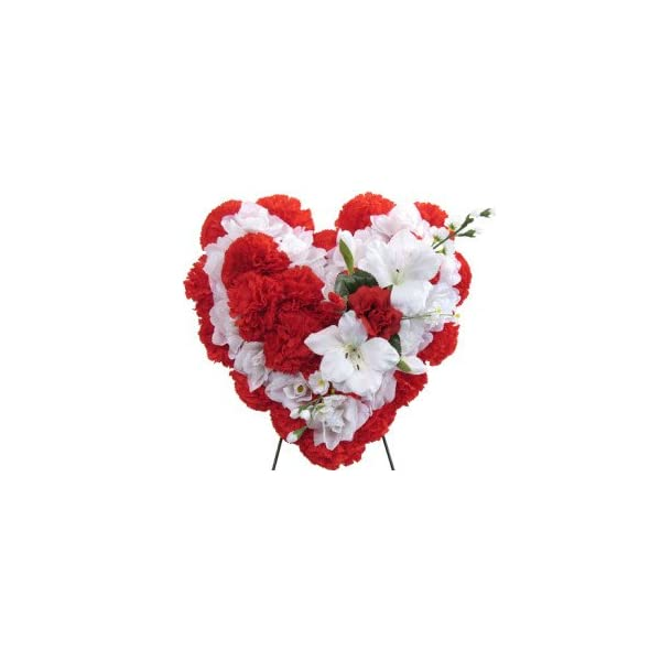 Memory Lane Memorials Deluxe Silk Floral Heart in RED and White for Grave-site Presentation in Remembrance of Loved Ones. Easel Mounted